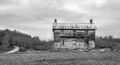 Sinks Grove House BW (Bob G. Bell) Tags: abandoned house abandonedhouse sinksgrove wv monroe bobbell xt1 fujifilm sky clouds bw road farm