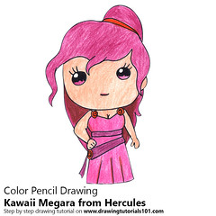 Kawaii Megara from Hercules (drawingtutorials101.com) Tags: kawaii megara from hercules character characters how draw color pencil drawing drawings pencils coloring with speed