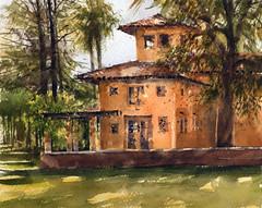 Alverno (Sherry Schmidt) Tags: art painting pleinair watercolor watercolour landscape city urban villa architecture trees sierramadre california building