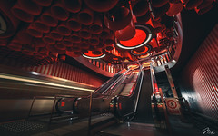 The Red Station (MHPhotography91) Tags: landscape cityscape red light wide angle samyang sony a7rii metro train station underground portrait street urban love walk explorer visual art of mood architecture mhphotography belgium