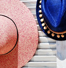 A shiny shot (jimiliop) Tags: hats window shiny sunny day lines pink blue summer