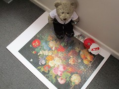Nobuddy will notice... will they? (pefkosmad) Tags: clementoni jigsaw puzzle used secondhand incomplete hobby leisure pastime 1000pieces 999pieces museumcollection louvre art painting fineart tedricstudmuffin teddy ted bear animal cute cuddly toy fluffy plush stuffed soft