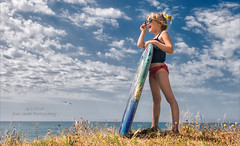 Lookin for Surf! (Red Gecko Photography) Tags: blue sky mediterranian girl portrait fun water child