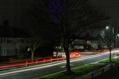 Busy night for light trails!😊 (LeanneHall3 :-)) Tags: lighttrails lights traffic longexposure street streetlamps hull kingstonuponhull tree branches houses buildings night nightshot nightphotography red white landscape canon 1300d