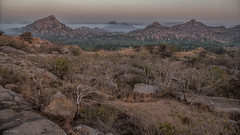 hampi landscape (sami kuosmanen) Tags: nature luonto light landscape tree india intia haze mist usva sumu rock rockclimbing geology granite maisema mountain asia hampi taivas trees travel morning bouldering boulder