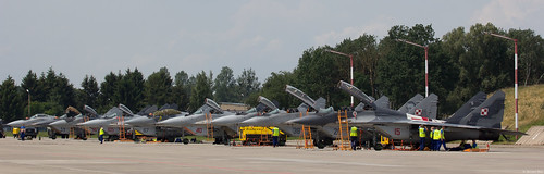 Polish Air Force (Siły Powietrzne) MiG-29 flight line at Malbork AB with MiG-29, MiG-29UB and MiG-29GTs from both 41.elt and 1.ELT