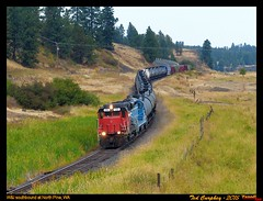 wiry-north pine-wa-8-11-2015a (funnelfan) Tags: train railroad railway shortline locomotive pnw pacificnorthwest washington rosalia pinecreek grade tankcars forest trees