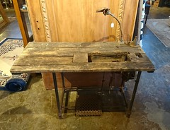 Sewing Table with Light (0042) (The Door Store) Tags: vintage salvage antique reclaimed original unique used period era classical traditional aged historic old oldfashioned worn secondhand rustic door store doorstore thedoorstore toronto ontario canada