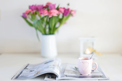50mmf1/4 (eleni m) Tags: home tabletop flowers pink tulips ranunculus 50mm f14 vase enamel magazines mug coffee hk highkey lantern tealight ribbon flame indoor heart teaspoon green white yellow