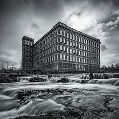 Thread mill (Ade G) Tags: bw landscape scotland weather buildings clouds light longexposure river