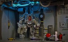Heavy exosuit in the corridor (adde51) Tags: adde51 lego moc neoclassicspace classicspace corridor exosuit cargo space hallway led foitsop