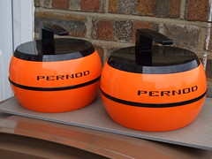 A pair of Kitsch Vintage Bright Orange 1970's Pernod Ice Buckets Shaped Like Curling Stones (beetle2001cybergreen) Tags: a pair kitsch vintage bright orange 1970s pernod ice buckets shaped like curling stones