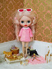 Pink Fur Coat (Cossette...) Tags: jc5 jeccifive doll clone blythe cossette pink mohair ringlets foxterrier barbie sindy fur coat pureneemos outfit