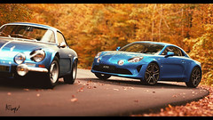 Alpine A110 and A110 Premiere Edition (at1503) Tags: evolution change alpine a110 alpinea110 twocars blue orange yellow autumn autumncolours fallenleaves trees colours colourful leaves blur road tarmac outdoors america usa vermont eastcoast wood forest light warmtones cars sportscar 1960s modern wheels windows french frenchcars granturismo granturismosport digitalmotorsport digitalphotography motorsport racing game ps4 vintage retro classic