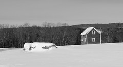 The little school (or house) (pegase1972) Tags: québec canada estrie hiver neige snow winter qc quebec easterntownships blackandwhite bw