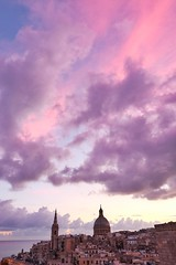 Valletta Dawn (Douguerreotype) Tags: sky purple malta sunrise buildings cityscape dome pink architecture city clouds cathedral tower valletta urban church