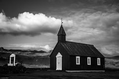 Budir Church / Búðakirkja - Iceland (Toine B.) Tags: budir church búðakirkja iceland eglise architecture architectural islande landscape paysage nikon d750 tamronsp2470mmf28divcusd tamron 2470 blackandwhite white bnw noir et blanc noirblanc ciel sky
