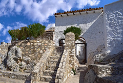 Mirador de la Villa, Zuheros (Jocelyn777) Tags: clouds stone buildings gate steps windows villages whitevillages pueblosblancos zuheros andalucia spain travel