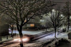 What a wintry blur!!!👍😁👍 (LeanneHall3 :-)) Tags: blur night nightshot nightphotography snow ice car lights street streetlamps landscape canon 1300d trees branches