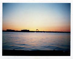 Virginia Harbor at sunset (Film..Grain) Tags: fp100c instantfilm packfilm scenic ocean water sunset bridge virginia colorful amazing look filmisnotdead ishootfilm