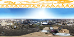 Centennial Park - Oak Lawn, IL - 3-17-2018 - Drons Panoramic (Rick Drew - 19 million views!) Tags: oaklawn il illinois centennial park facelift construction cook county trees forest grove playground grass field ballpark fence heavy equipment progress dji drone phantom4pro p4p sky pano panoramic equirectangular