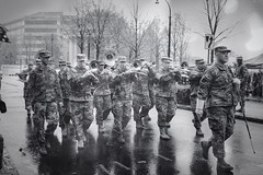 Rain on the parade (TheodoreWLee) Tags: atlanta parade st patricks day fujifilm xe3 23mmf2 peachtree marines rain bw camo band brass trombone march tuba trumpet saxophone