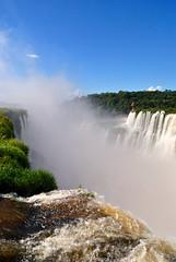 Iguazu Falls (makingacross) Tags: nikon d3000 iguazu falls iguacu argentina waterfall water spray sky blue clouds