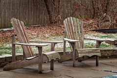 What is wrong with this picture? (backbeatb00gie) Tags: 2018 iowa backyard chairs cold grass patio snow snowing spring weather weathered