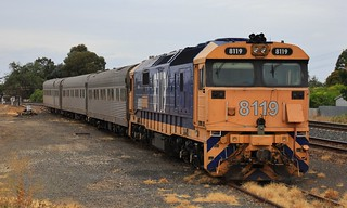 8119 has stabled for the night on AK-test train