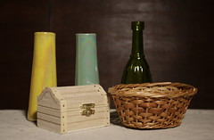 untitled (N.the.Kudzu) Tags: home tabletop stilllife pottery vases bottle basket wooden box canon70d lensbabyburnside35