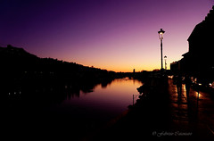 Sunset over the river (fabricata) Tags: sunset over river torino turin italia italy water dawn city po cityscape night light