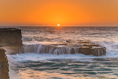 Sunrise Seascape and Cascades (Merrillie) Tags: daybreak sunrise northavoca nature water rocks centralcoast morning newsouthwales waves earlymorning nsw sea avocabeach ocean rocky landscape northavocabeach coastal waterscape sky seascape australia coast dawn outdoors
