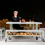 Louise Cohen LIFE IS GREAT fire and grill table and me thumbnail