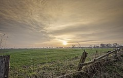 Field at dawn with broken fence. (jack cousin) Tags: nikond610 on1photos cloud dawn sunrise sun fence woodenfence brokenfence collapsed fencepost yorkshire landscape panorama view vista environment countryside rural scene ruralscene nature outdoors country trees york field farmland meadow lea crop planted