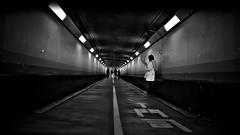 Kanmon Tunnel (Japan) (明遊快) Tags: bw blackandwhite lines tunnel lights people japan japanese woman alene 関門トンネル contrast black white grunge 幅4m 長さ約780m 徒歩約15分 国道2号 dark depth art street road alley