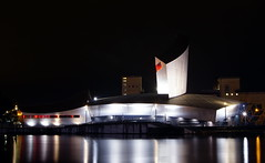 (Charlie_Grant) Tags: iwm imperial war museum north trafford park salford quays media city river irwell greater manchester england uk architecture water long exposure street lights night reflections