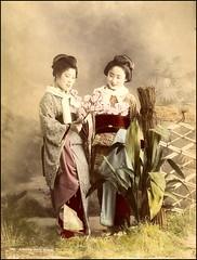 Admiring Cherry Blossom (ookami_dou) Tags: vintage albumen handcolored geisha flower kimono