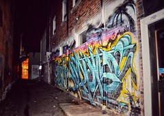 (mmollame18) Tags: graffiti bricks wall cambridge night