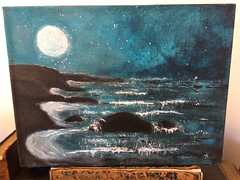 Ghost Cove (Cabinet of Old Secret Loves) Tags: ghost cove ghostly painting original annabelle etsy seller artist anna belanger ocean seascape gothic spooky haunting starry moon ghostship boat water blue teal white shimmering sparkly dreamy mysterious enchanted