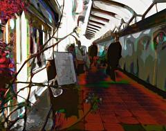 Grey town -Stories (Bamboo Barnes - Artist.Com) Tags: japan photomanipulation texture tile ground alley street red blue grey white black surreal vivid light shadow digitalart bamboobarnes osaka kyobashi wall painting winter spring man town