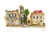Piazza Bellini, Palermo, Sicily (wanstrow) Tags: palermo sicily architecture drawing domes pink palms churches