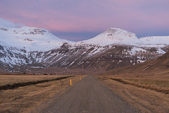 A Path of Progress (JeffMoreau) Tags: roads iceland kirkjufell snaefellsnes grundarfjordur street dirt gravel western scandinavia sunrise mountain snowy morning pastel dawn