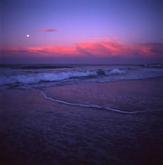 Sunset Moonrise (LunaliteSBC) Tags: tasmania beach sunset moonrise sea ocean mamiyac33 fujivelvia50 film filmcamera filmphotographyproject ishootfilm mamiyasekor80mm australia yesicampedonthisbeachinmyswag