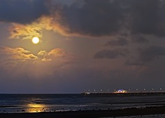 Moon pano over Shorncliffe Pier (noompty) Tags: moon moonlight clouds sandgate shorncliffe pier jetty brisbane moretonbay queensland ocean beach panorama pentax k1 on1pics photoraw2018 2018 hddfa150450f4556eddcaw