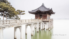 Ukimido, Mangetsuji Temple (pixellesley) Tags: buddhist temple building structure piles walkway lake water trees biwa japan landscape lesleygooding longexposure architecture
