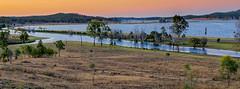 Awoonga Dam (cantdoworse) Tags: awoongadam gladstone calliope landscape canon 6d centralqueensland queensland australia bush trees scrub water railway sunset cows farmland
