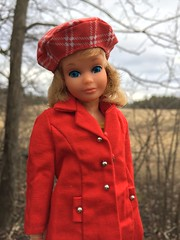 Raw spring day (Foxy Belle) Tags: pose n play skipper mod short hair plaid hat best buy red coat long it buttons cotton outside nature yard trees spring cold damp rainy doll vintage 1970s