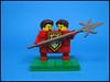 Sir Sigh and Meeze Terrwins (Karf Oohlu) Tags: lego moc minifig modifiedminifoig collectibleminifig series18 medievil halberd siamesetwins
