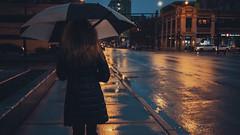 Rain (Jovan Jimenez) Tags: rain umbrella cinematic canon eos m3 22mm stm f2 night street people efm girl woman women walking lady web widescreen 16x9