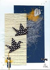 aceo moonlight flight (julie_savard) Tags: aceo origami atc orijuju juliesavard paperart miniature pocketart papercraft paperartist artisttradingcards japaneseart traditionnalart